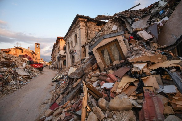 The destroyed Lazio mountain village of Amatrice, Italy, 1 Septemeber 2016. A devastating 6.0 magnitude earthquake early morning 24 August left a total of 293 dead, according to official sources. ANSA/ ALESSANDRO DI MEO