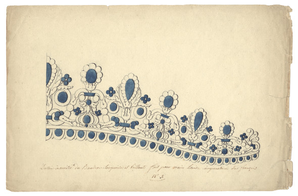 Francois-Regnault Nitot (1779-1853), drawing workshop Drawing of half of the turquoise and bright band made for Marie-Louise Empress of the French, 1811 21.2 x 32.5 cm Pen and black ink, traces of black chalk, watercolour highlights on wove paper © Chaumet Collection