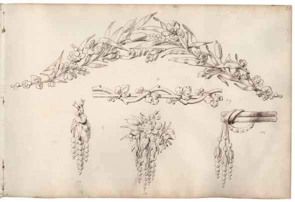 Jean-Baptiste FOSSIN (1786-1848), drawing workshop Preparatory drawing for naturalist jewellery, 1830-1850 Quill and brown ink on paper © CHAUMET collection