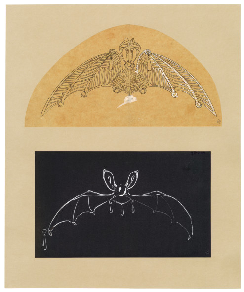 Joseph CHAUMET (1852-1926), drawing workshop Two sketches of bat tiaras, ca. 1890-1900 Quill and Indian ink, wash on tracing paper and gouache on card © CHAUMET collection