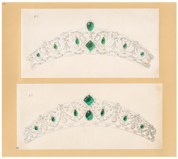 Joseph Chaumet (1852-1926), drawing workshop Two projects of tiaras around a bundle of emeralds Ca. 1910 Quill and black ink, white and coloured wash, wash drawing and soak on card © CHAUMET Collection