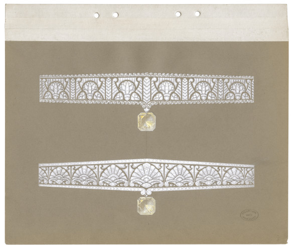 Joseph CHAUMET (1852-1926), drawing workshop Preparatory drawing of Egyptian inspiration tiaras, ca. 1925 Graphite pencil, white gouache and highlights on card © CHAUMET Collection