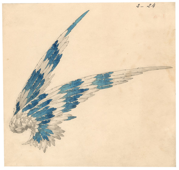 Joseph Chaumet (1852-1926), drawing workshop Preparatory drawing for the project for a winged tiara delivered for Gertrude Vanderbilt 1908 15 x 16 cm Graphite pencil, pen and grey ink, gouache wash on cream tinted card © Chaumet Collection