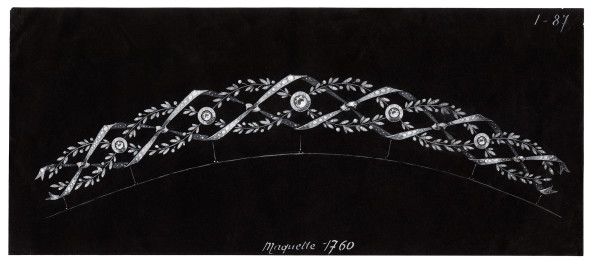 Joseph Chaumet (1852-1926), drawing workshop Study for a necklace that can be converted into a band tiara, Ca. 1905 15 x 33.9 cm Graphite pencil, white gouache, wash and highlights on black tinted card © Collection Chaumet