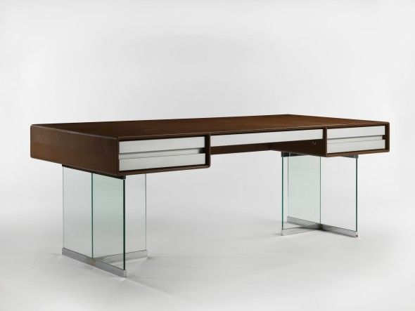 DESK JANINE ABRAHAM &AMP & DIRK JAN ROL Leather-wrapped wood, glass, chromed metal and aluminum 77 x 210 x 95 cm (30.3 x 82.7 x 37.4 in.) 1974 PROVENANCE Private commission, Paris LITERATURE Patrick Favardin, Abraham & Rol, Belgium, 2017, pp. 80 and 84
