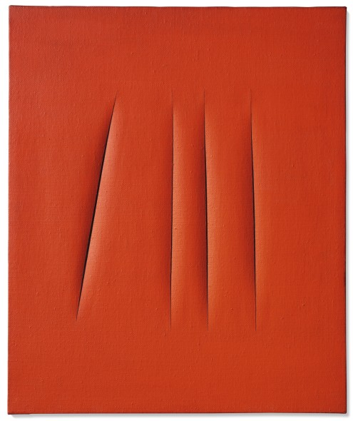 Lucio Fontana CONCETTO SPAZIALE, ATTESE SIGNED, TITLED AND INSCRIBED ON THE REVERSE, WATERPAINT ON CANVAS. EXECUTED IN 1967 Estimate 1,000,000 — 1,500,000 EUR LOT SOLD. 2,409,000 EURLucio Fontana CONCETTO SPAZIALE, ATTESE SIGNED, TITLED AND INSCRIBED ON THE REVERSE, WATERPAINT ON CANVAS. EXECUTED IN 1967 Estimate 1,000,000 — 1,500,000 EUR LOT SOLD. 2,409,000 EUR