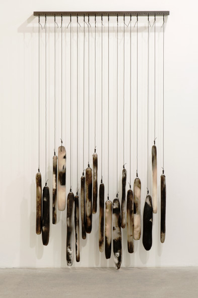 Anna Maria Maiolino Na Horizontal [On the Horizontal], 2014 Metal base with raku ceramic and shielded copper wire 20×120 cm (metal base, 18 raku ceramic pieces with variable dimensions)  Ed. di 3 + 1AP Courtesy dell'artista e Galleria Raffaella Cortese, Milano