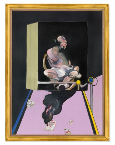 christie's Francis Bacon, Study for Portrait, 1977, oil and dry transfer lettering on canvas 78 x 58⅛ in. (198.2 x 147.7 cm.) Estimate on Request