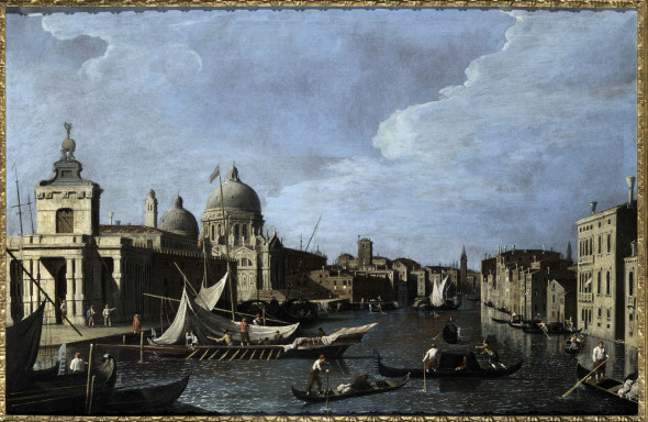 Bernando Canal, (Venice 1673 - 1744 Venice), Venezia, The entrance to the grand canal, looking west, 1740 C., oil on canvas, 74 x 113 cm. (29 1/8 x 44 1/2 in.), Salamon & C. Srl - Milano