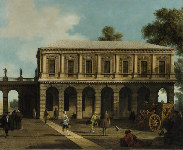 GIOVANNI ANTONIO CANAL, called CANALETTO (Venice, 1697 - 1768)  A Capriccio of the Prisons of San Marco Oil on canvas, 105.5 x 127.5 cm