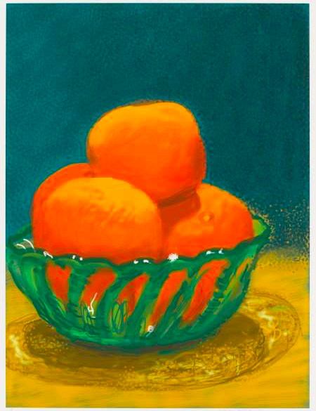 David Hockney's Oranges (2011). © David Hockney. Photo Credit: Richard Schmidt, courtesy of Pace.