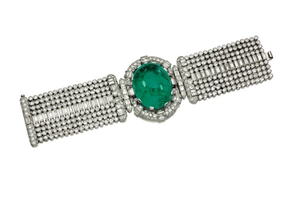 Lot 320 From the collection of the Marchioness of Londonderry, Mount Stewart Impressive emerald and diamond bracelet, 1930s Estimate: CHF 340,000 – 475,000 / US$ 355,000 – 495, 000