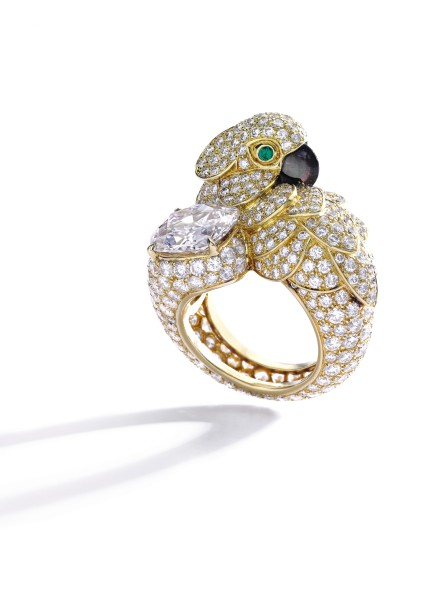 """Lot 337 Cartier Very light pink diamond, gem set and diamond ring, """"Parrot"""" Estimate: CHF 200,000 – 385,000 / US$ 200,000 – 400, 000   Copyright in this image shall remain vested in Sotheby's. Please note that this image may depict subject matter which is itself protected by separate copyright. Sotheby's makes no representations as to whether the underlying subject matter is subject to its own copyright, or as to who might hold such copyright. It is the borrower's responsibility to obtain any relevant permissions from the holder(s) of any applicable copyright and Sotheby's supplies this image expressly subject to this responsibility. Note that the image is provided for a one-time use only and no permission is granted to alter this image in any way."""