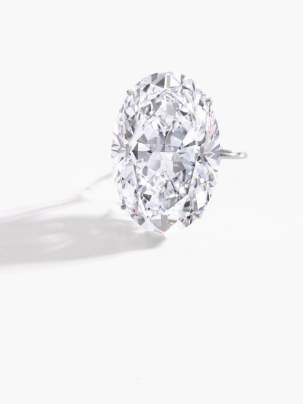 Lot 350 Magnificent diamond ring The oval diamond weighing 50.39 carats Estimate: CHF 6,960,000 – 7,680,000 / US$ 7,250,000 – 8,000,000