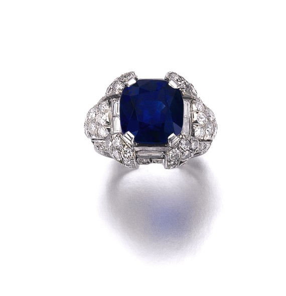 Lot 365 Superb sapphire and diamond ring, 1930s Estimate: CHF 950,000 –1, 430,000 / US$ 1,000,000 – 1,500, 000