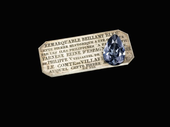 Lot 377 The Farnese Blue Historic and highly important fancy dark grey-blue diamond weighing 16.16 carats Estimate: CHF 3,500,000 – 5,000,000 / US$ 3,690,000 – 5,270,000