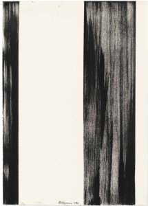 LOT 10 B Barnett Newman (1905-1970) Untitled brush and ink on paper 14 x 10 in. (35.5 x 25.4 cm.) ESTIMATE $1,200,000 - $1,800,000   PRICE REALIZED 2,052,500