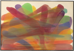 LOT 13 B Morris Louis (1912-1962) Devolving Magna on canvas 68 x 100 1/4 in. (172.7 x 254.6 cm.) ESTIMATE $5,000,000 - $7,000,000   PRICE REALIZED 5,712,500