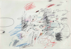 LOT 19 B Cy Twombly (1928-2011) Untitled (Murder of Olofernes) graphite, colored pencil, wax crayon and ballpoint pen on paper 27 1/2 x 39 1/2 in. (69.8 x 100.4 cm.) ESTIMATE $500,000 - $700,000   PRICE REALIZED 852,500