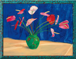 LOT 2 B David Hockney (b. 1937) Antheriums  oil on canvas in painted artist's frame overall: 41 1/4 x 53 1/8 in. (104.7 x 134.9 cm.) ESTIMATE $2,500,000 - $3,500,000   PRICE REALIZED 5,600,000