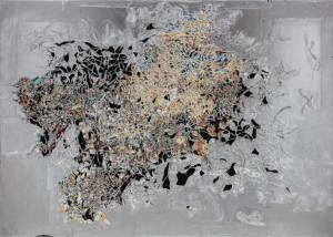LOT 20 B Mark Bradford (b. 1961) Boreas mixed media collage on canvas 102 x 144 in. (259.1 x 365.8 cm.) ESTIMATE $5,000,000 - $7,000,000   PRICE REALIZED 7,625,000