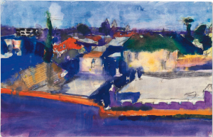 LOT 22 B Richard Diebenkorn (1922-1993) Untitled gouache and charcoal on paper 10 7/8 x 16 7/8 in. (27.6 x 42.9 cm.) ESTIMATE $300,000 - $500,000   PRICE REALIZED 468,500
