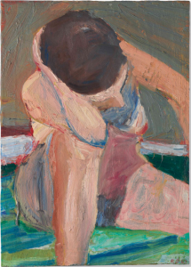LOT 24 B Richard Diebenkorn (1922-1993) Nude—Elbow on Knee oil on canvas 24 x 17 1/4 in. (61 x 43.8 cm.) ESTIMATE $800,000 - $1,200,000   PRICE REALIZED 1,152,500
