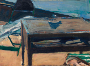 LOT 27 B Richard Diebenkorn (1922-1993) Table and Folding Chair oil on canvas 28 3/8 x 39 in. (72 x 99 cm.) ESTIMATE $900,000 - $1,200,000   PRICE REALIZED 852,500