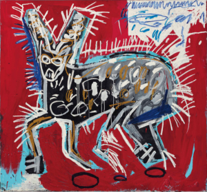 LOT 33 B Jean-Michel Basquiat (1960-1988) Red Rabbit acrylic and oilstick on canvas 64 x 69 in. (162.6 x 175.3 cm.) ESTIMATE $5,000,000 - $7,000,000   PRICE REALIZED 6,612,500