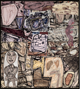 LOT 42 B Jean Dubuffet (1901-1985) Sécréter son Habitat acrylic on paper collage mounted on canvas 75 x 67 1/2 in. (190.5 x 171.4 cm.) ESTIMATE $1,500,000 - $2,000,000   PRICE REALIZED 2,412,500