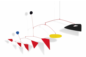 LOT 64 B Alexander Calder (1898-1976) Untitled  hanging mobile—sheet metal, wire and paint 44 x 82 x 20 1/2 in. (111.7 x 208.2 x 52 cm.) ESTIMATE $2,200,000 - $2,800,000   PRICE REALIZED 3,612,500