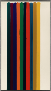 LOT 8 B Morris Louis (1912-1962) Number 4-32 Magna on canvas 81 1/4 x 44 7/8 in. (206.4 x 114 cm.) ESTIMATE $2,000,000 - $3,000,000   PRICE REALIZED 3,852,500