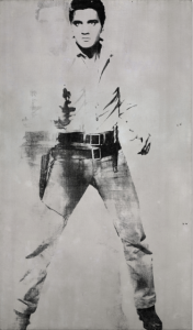 LOT 9 B Andy Warhol (1928-1987) Double Elvis [Ferus Type] silkscreen ink and spray paint on linen 81 3/4 x 48 in. (207.6 x 121.9 cm.) ESTIMATE Estimate on request   PRICE REALIZED 38,000,000