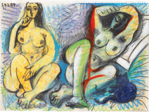 Lot 1 A Pablo Picasso (1881-1973) Deux nus colored wax crayons and black Conté crayon over pencil on paper 9 ½ x 11 5/8 in. (24 x 31.8 cm.)  estimate $700,000 - $1,000,000  PRICE REALIZED 3,372,500