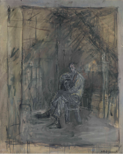 Lot 2 A Alberto Giacometti (1901-1966) Homme assis oil on canvas 39 3/8 x 31 ¾ in. (100 x 80.7 cm.)  estimate $3,000,000 - $5,000,000  PRICE REALIZED 3,612,500