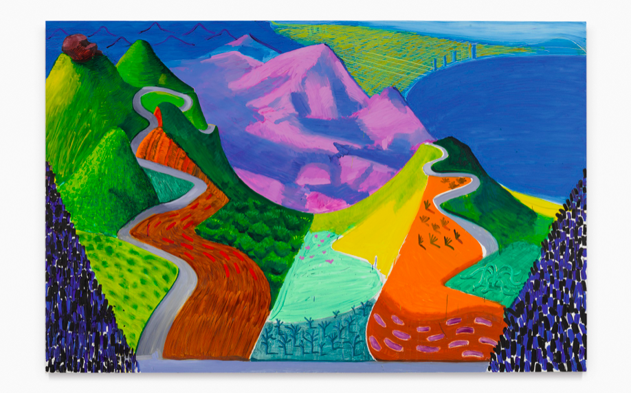 David Hockney, Pacific coast highway and Santa Monica, 1990, oil on canvas. Estimate 20,000,000 — 30,000,000 USD