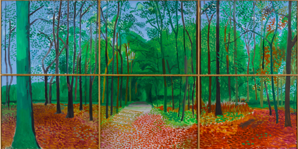 David Hockney, Woldgate woods. Estimate 9,000,000 — 12,000,000 USD. Lot sold. 11,712,500 USD
