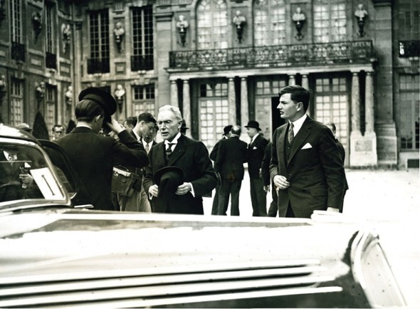 John D Rockefeller, Jr. funded historic restoration of many war-torn sites in France, and attended special ceremonies at the Palace of Versailles with son David in 1936. Photo: The New York Times