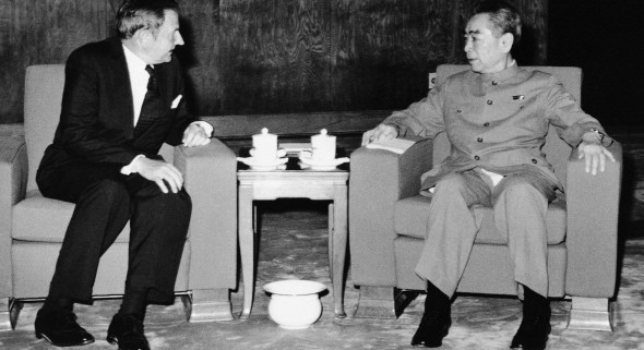 Rockefeller with China's Chou en-Lai, in 1973.