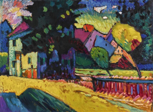 Wassily Kandinsky 1866 - 1944 MURNAU - LANDSCHAFT MIT GRÜNEM HAUS (MURNAU - LANDSCAPE WITH GREEN HOUSE) signed Kandinsky and dated 1909 (lower right); signed Kandinsky on the reverse; signed Kandinsky, titled and numbered no. 79 on the backboard oil on board 70 by 96cm. 27 1/2 by 37 3/4 in. Painted in 1909. Estimate   15,000,000 — 25,000,000  GBP  LOT SOLD. 20,971,250 GBP