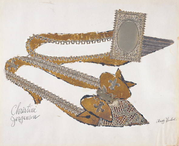 Andy Warhol, Christine Jorgenson (1956). Collaged metal leaf and embossed foil with ink on paper. Sammlung Froehlich, Leinfelden-Echterdingen, Germany. © The Andy Warhol Foundation for the Visual Arts, Inc. / Artists Rights Society (ARS) New York.