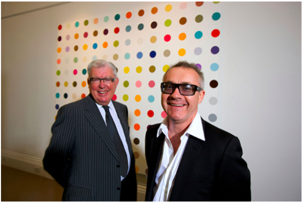 FRANK DUNPHY AND DAMIEN HIRST. CREDIT: MARTIN BEDDALL / ALAMY STOCK PHOTO