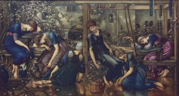 Edward Burne-Jones The Garden Court 1885-90 Oil paint on canvas, 1250 x 2310 mm The Faringdon Collection Trust