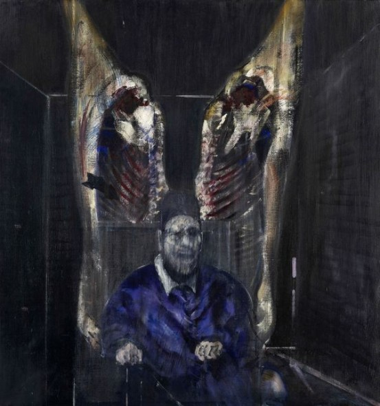 FRANCIS BACON, FIGURE WITH MEAT, 1954 Oil on canvas 129.9 x 121.9 cm Harriott A. Fox Fund, 1956.1201. Chicago (IL), Art Insitute of Chicago. © 2017. The Art Institute of Chicago / Art Resource, NY/ Scala, Florence © The Estate of Francis Bacon. All rights reserved / 2018, ProLitteris, Zurich