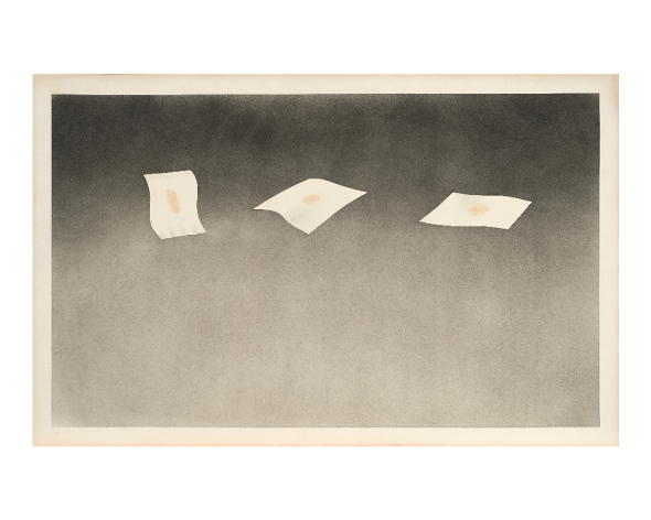 "EDWARD RUSCHA ""Three Sheets with Raisin Stains"" 1973 polvere da sparo e macchie di uva passa su carta cm 36,8x58,4 Firmato e datato 1973 in basso a sinistra"
