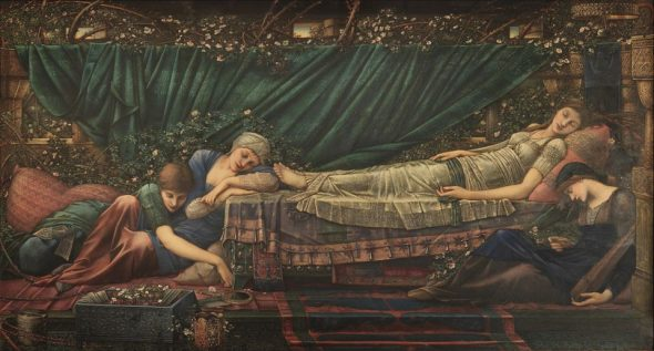 Edward Burne-Jones The Rose Bower 1885-90 Oil paint on canvas, 1250 x 2310 mm The Faringdon Collection Trust