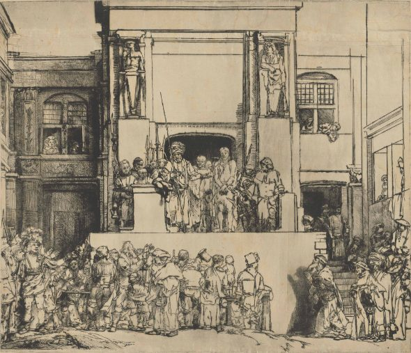 REMBRANDT HARMENSZ. VAN RIJN (1606-1669) Christ presented to the people ('Ecce Homo') drypoint, 1655, on joined sheets of warm-toned Japan paper, a superb impression of this highly important subject, New Hollstein's extremely rare first state (of eight) Plate 15 x 17 9/16 in. (38.2 x 44.7 cm.). Sheet 15 . x 17 5/8 in. (38.7 x 44.8 cm.) Estimate On Request