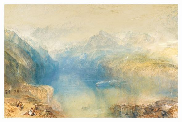 Joseph Mallord William Turner, R.A., The Lake of Lucerne from Brunnen, Watercolour over traces of pencil, heightened with bodycolour, 308 by 469 mm. Estimate: £1,200,000 – 1,800,000.
