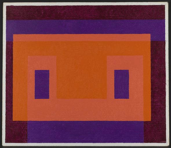 Joseph Albers Variant ''Orange Front'' 1948–58 Oil on Masonite 59.6 x 68.5 cm  Solomon R. Guggenheim Foundation, Venice Gift, The Josef and Anni Albers Foundation, In honor of Philip Rylands for his continued commitment to the Peggy Guggenheim Collection 97.4555 © Josef Albers, by SIAE 2008