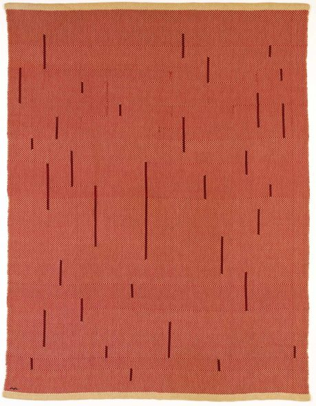 Anni Albers With Verticals 1946 Red cotton and linen 1549 x 1181 mm The Josef and Anni Albers Foundation, Bethany CT © 2018 The Josef and Anni Albers Foundation/ Artists Rights Society (ARS), New York/DACS, London Photograph by Tim Nighswander/Imaging4Art